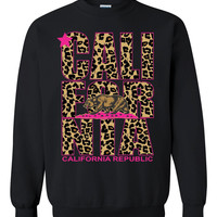 California Pink cheetah CREWNECK Cheetah Leopard california Sweater Crewneck Califirnia tee