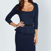 Kendal Long Sleeve Belted Peplum Midi Dress