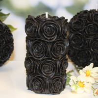 Black candle - Carved Candle - Goth Gift - Christmas gift - Burthday gift