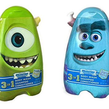 Disney Pixar Monster University 3- In-1 Body Wash, Shampoo and Conditioner: Bundle of 2 Includes Sully and Mike