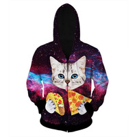 Women/Men Fashion 3D Galaxy Hoodie Zipper Outerwear Cute Cat Eating Tacos Pizza Hooded Sweatshirt Tracksuits Hoodies Outfit