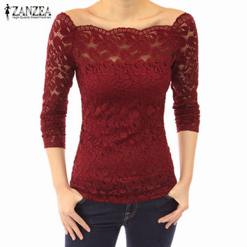 Blusas  Autumn  Women Off Shoulder Slash Neck Lace Crochet Solid Shirts Long Sleeve Slim Casual Basic Tops Blouses