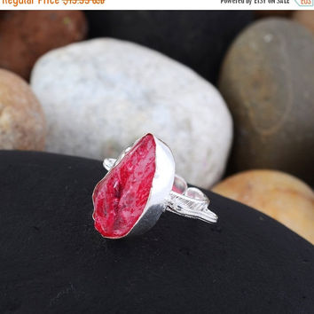 SaleHandmadeJewelry 925 Silver Jewelry Rings With Crystal Gemstone // Rough Pink Crystal Ring // Pink Crystal Gemstone Jewelry // Healing Cr