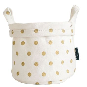 Canvas Bucket - Gold Polka Dots