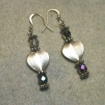 Earrings, Silver Plated Brushed Heart Beads and Czech Luster Beads, Handmade, Jewelry