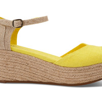 Yellow Linen Mix Platform Wedges TOMS