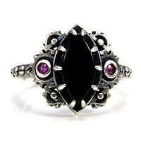 Steampunk Marquise Onyx and Hot Pink Sapphire Engagement Ring - Industrial Ladies Gear Ring