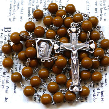 St. Padre Pio Rosary - Catholic Rosary, Brown Camel Jasper, Large
