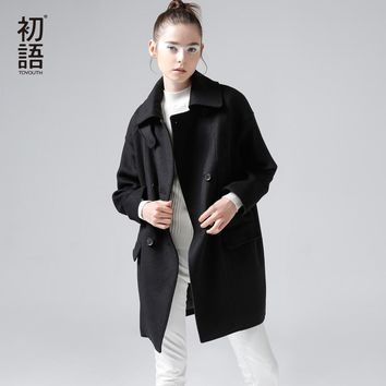 Toyouth Winter New Brief Cocoon Wool Blends Women Long Wollen Coats Loose Casual Trench Coats