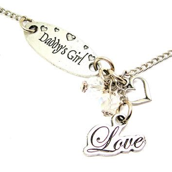 Daddy's Girl And Cursive Love Lariat Necklace