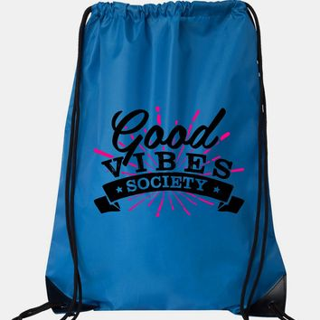 "Drawstring Gym Bag  ""Good Vibe Society""  Funny Workout Squatting Gift"