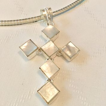 Mother of pearl sterling silver cross pendant