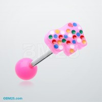 Sprinkle Elephant Cookie Acrylic Barbell Tongue Ring