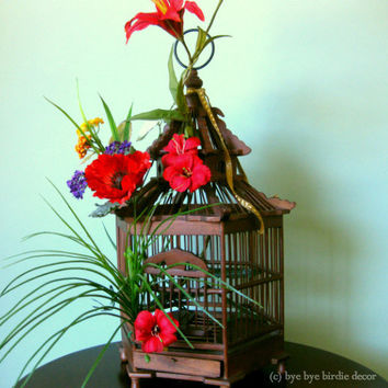 Decorative Birdcage / Dark Brown Wood Birdcage / Bird Cage Decorated with Red Flowers