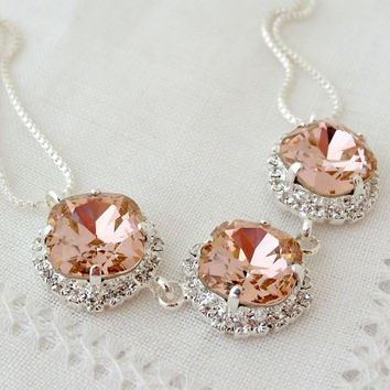 Pink blush Swarovski crystal necklace, Bridal necklace,  Statement necklace, Bib necklace, Bridesmaid gift, Wedding jewelry, silver necklace