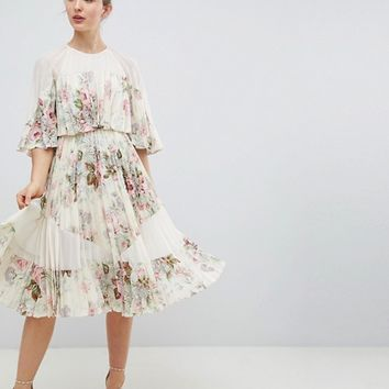 ASOS DESIGN Sheer & Solid Printed Midi Dress In Floral Print at asos.com