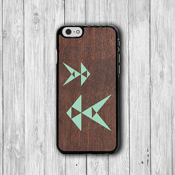 ART Geometric Mint Fish iPhone 6 Cases iPhone 6 Plus, iPhone 5S, iPhone 5 Case, iPhone 5C Case, iPhone 4/4S Wooden Accessory Phone Cover