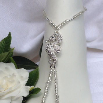 Silver Seahorse With Crystal Rhinestones Barefoot Sandal, Beach Weddings, Foot Jewelry,  Bridal Barefoot Sandals