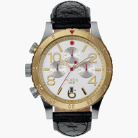 Nixon 48-20 Chrono Leather Watch Silver/Gold/Black One Size For Men 25946214901