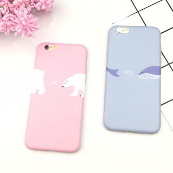 Cute whale and polar bear phone case for iPhone 7 7 plus iphone 6 6s 6 plus 6s plus + Nice gift box 080902