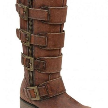 ICIKAB3 Corral Distressed Cognac Straps & Zipper Boots P5078
