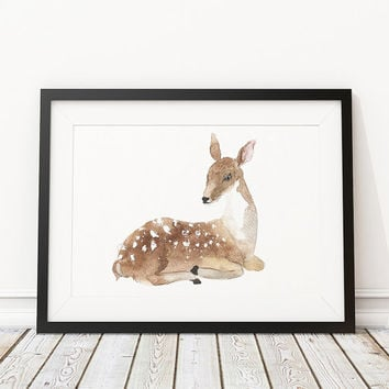 Baby deer poster Watercolor print Nursery decor ACW3