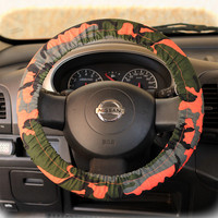 Steering wheel cover for wheel car accessories Army Camouflage Military Hot Orange Wheel cover