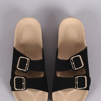 Bamboo Nubuck Open Toe Buckled Cork Footbed Slide Sandal