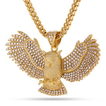 The 14K Gold CZ Horned Owl Necklace