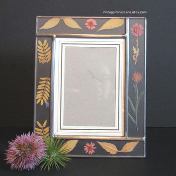 Vintage Handmade Picture Frame, Pressed Flower and Leaf / Stained Glass Style