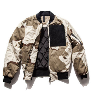 Color Block Camo Print Velcro Patch Quilted Lining Jacket