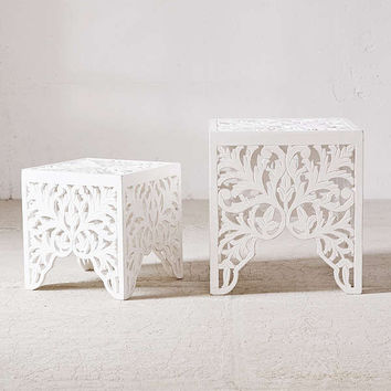 Sienna Carved Side Table Set | Urban Outfitters