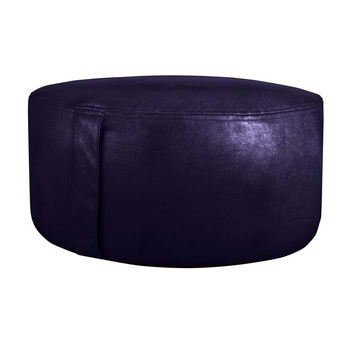 Chic Faux Leather Inflatable Saddle Stitch Indoor Pouf Ottoman Eggplant