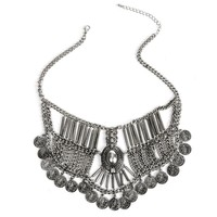 Silver Webbed Coin Statement Necklace Set