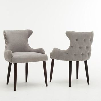 New Century® Set of 2 Contemporary Gray Tufted Microfiber Accent Chairs