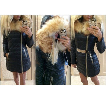 Fashion Women Jacket Winter Coat Zippered Pocket Bat With A Fur Collar = 1929956036