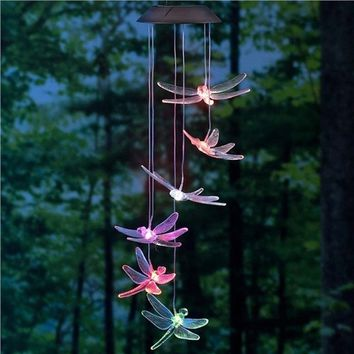 Solar Mobile LED Light Color Changing Wind Chimes Dragonfly Pendant Aeolian Bell Lamp Accessories Home Decor (Random Color)