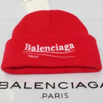 Balenciaga men and women winter warm big embroidery wild wool hat Red