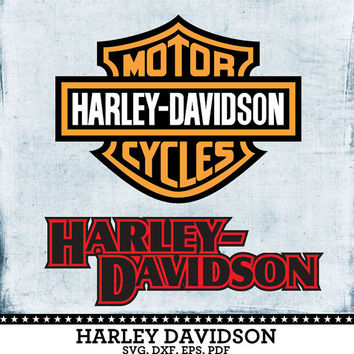 Harley Davidson Motorcycles Logo - SVG, dxf, eps, PDF Vector Digital cut files for Silhouette Studio, Cricut Design Space Cutting SVG-89