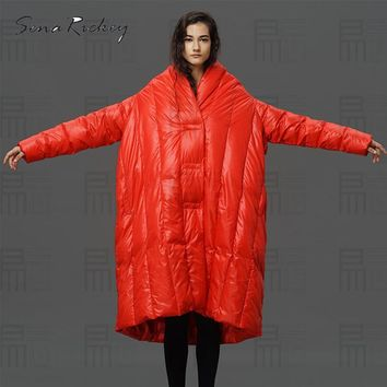 Sena Rickey Down Jacket Coat Women Solid Casual Parka Coat Slim Thickening Loose Lady Coat Winter Long Warm Female Jacket
