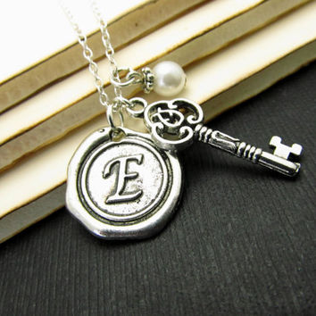 Keepsake Initial Necklace, Monogram Initial Necklace, Personalized Initial Necklace, Wax Seal Initial Necklace, Vintage, Sterling Silver
