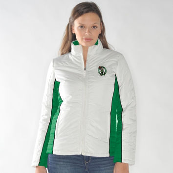 Boston Celtics Ladies Touchdown Full Zip Jacket - White/Kelly Green