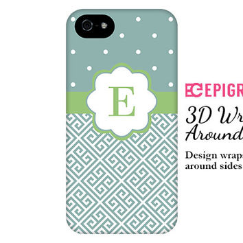 Monogram iPhone 6 case, greek key iPhone 6 plus case, teal iPhone 5c case, iPhone 5s case, iPhone 4s, 3d wrap around case, galaxy S5 case