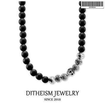Strand Necklace Obsidian Beads Skull & Cross, 2018 New Fashion 925 Sterling Silver Jewelry Punk Gift For Men Women Boy Girls
