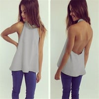 Women Fashion Sexy Backless Sleevelss Halter 3 Colors Tank Top Shirt = 5658694337