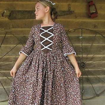 Historical American Colonial Pioneer Girl Costume~Brown Day Dress~Adult 10/12