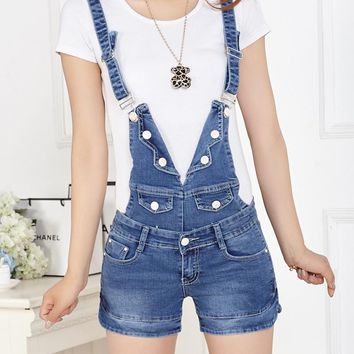 2017 summer denim shorts strap loose big yards Slim thin one piece Bib Jumpsuits Rompers fashion overalls buttons brand jeans
