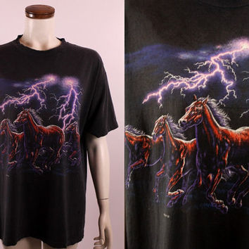 Vintage 90s 1992 - Wild Horses Lightning - Black Distressed Souvenir Novelty Tee T Shirt Mens Womens Unisex