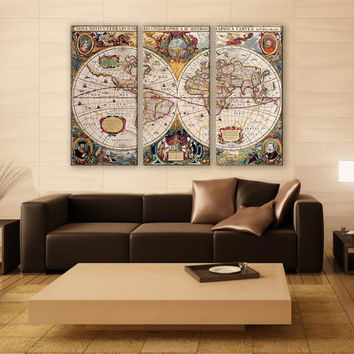 Old World Map Canvas Print 3 Panels Print Vintage Art Wall Deco Fine Art Photography Repro Print for Home and Office Wall Decoration