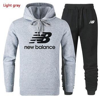 New Balance Autumn And Winter New Fashion Letter Leaf Print Women Men Hooded Long Sleeve Sweater And Pants Two Piece Suit Light Gray